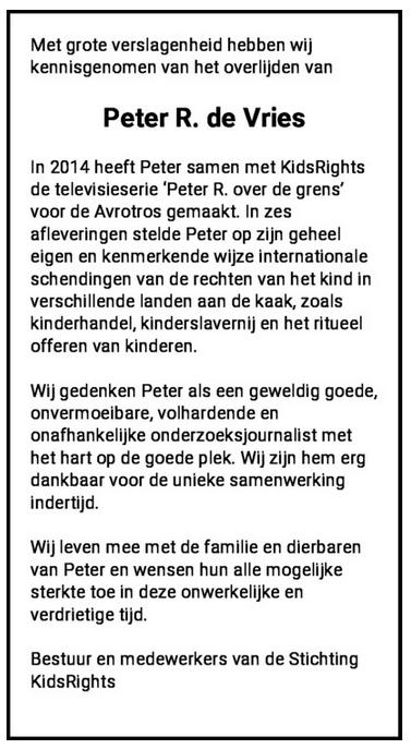 Rouwadvertentie Peter R de Vries